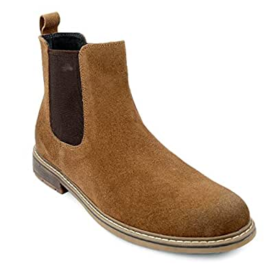 Shences Men's Brown Genuine Leather Mid Ankle Chelsea Boots (6 UK)