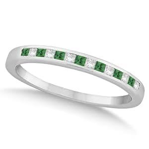 Allurez Princess Cut Diamond and Emerald Wedding Band Platinum (0.34ct) - T 1/2