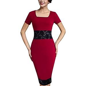 c63081be83 HOMEYEE Women s Vintage Short Sleeve Lace Patchwork Bridesmaid Pencil Dress  B367