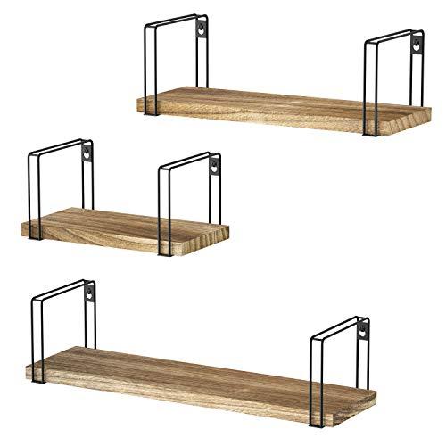 SRIWATANA Wandregal Hängeregal Holz 3er Set U-Form Schweberegal Wandboard Vintage, Ideal für Wohnzimmer Schlafzimmer Flur Badezimmer, Länge 43/33/23cm -