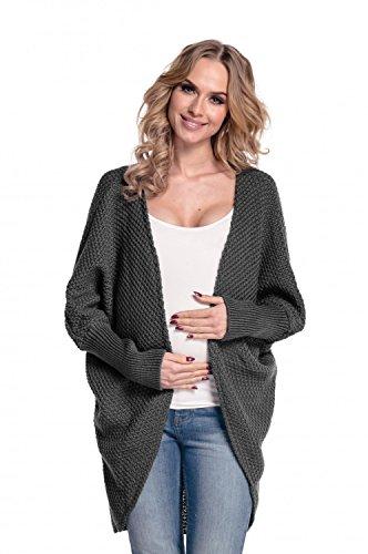 Happy mama donna. prémaman giacca di maglina cardigan lungo senza bottoni. 323p (grafite, one size it 42/44/46)