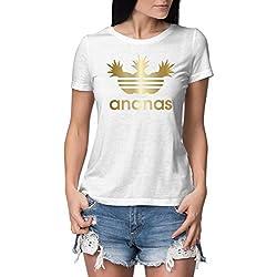 Damen T-Shirt mit Aufdruck Ananas - KÖRPERBETONT (evtl. größer wählen) - Hochwertige ENG Anliegende Tshirts in Topqualität - lustiges T Shirt Bedruckt mit Logo Print und Spruch Weiß-Goldmetallic M