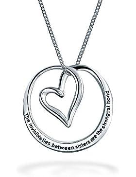 Bling Jewelry 925 Silber Herz Schwestern Nachricht Halskette 18in