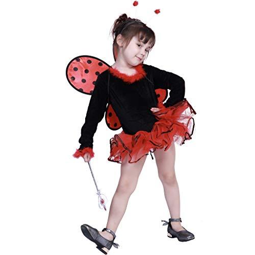 (EraSpooky Mädchen Marienkäfer Kostüm Käfer Kleid mit Kopfschmuck, Flügel für Theater und Karneval)