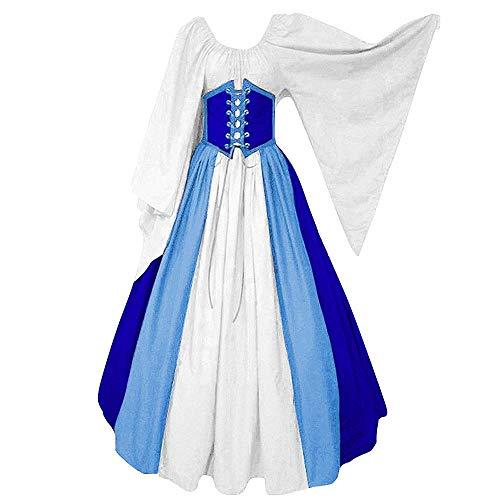 CDE Damen Vintage Lang Mittelalter Kostüm Gothic Viktorianisches Cosplay Kleid Renaissance Wirtin Maxikleid für Party Karneval (Blau und Weiß, XXXL) (Maßgeschneiderte Viktorianischen Kostüm)