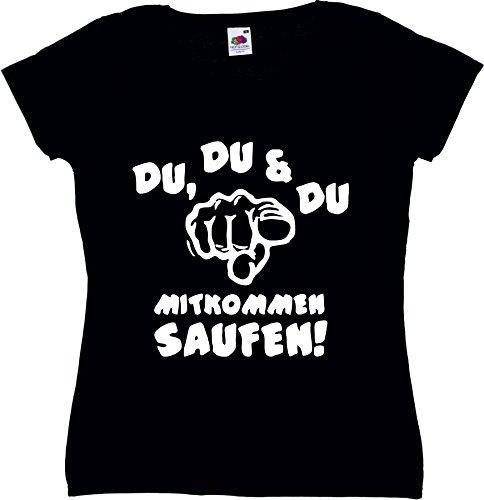 T-Shirt Oktoberfest Wiesn München Junggesellenabschied für Frauen Männer und Kinder in allen Größen XS bis 4XL oder Kinder 104 bis 164 Motiv Nr.62 Damen-Schwarz