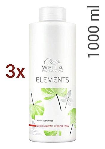 Wella Elements sulfatfreies Shampoo 3 x 1000 ml für trockenes-sprödes Haar Professionals Care (Shampoo Elements Wella)