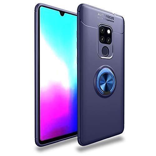 BLUGUL Huawei Mate 20 X Hülle, 360 Grad Drehender Ring-Griff, Kompatibel mit Magnet Auto Halterung, Schutzhülle Handyhülle Case Cover für Huawei Mate 20 X Blau