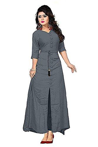 New Genration Fashion Hub Women's Cotton Dress Material (LONG KURTA COPY_Grey_Free Size)