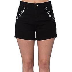 Banned Pantalones Cortos o Shorts Chinos Bell Tower Bats de Estilo Goth Punk (Negro)