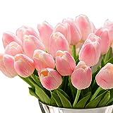 Blumen Tulpen, GKONGU 10 Stück Sanfte Berührung Künstliche Blumen für Hochzeits -Blumenstrauß und Haus-Dekor Gartendekoration-Rosa