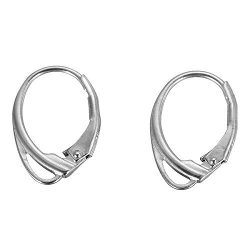 2 pièces de fermoirs de boucles d'oreilles à levier en argent sterling 925 17 mm x 11 mm