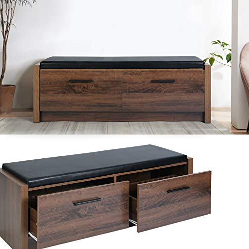 HOUSE IN BOX.COM TV Schrank Board Fernsehschrank Retro Fernsehtisch Sideboard Lowboard Fernsehtisch Wohnzimmer mit 2 Schubladen 115x40x42cm (Nussbaum)