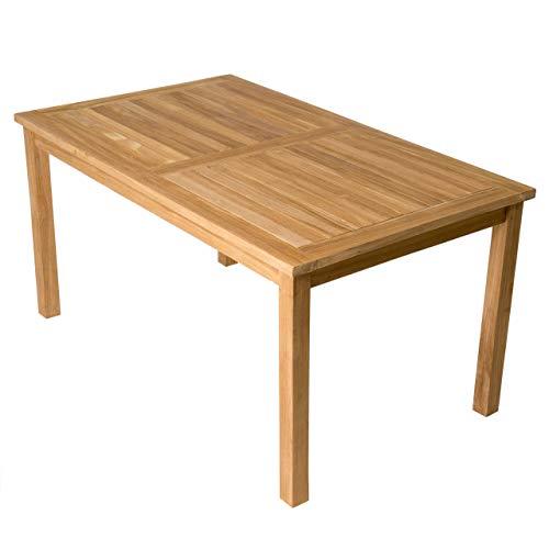 Divero Esstisch Gartentisch Balkontisch - Holztisch Teak für den Innen- und Außenbereich - rechteckig groß witterungsbeständig massiv behandelt - 150 x 90 cm