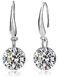 Pendientes para mujer, plata de leyy elementos de cristal Swarovski, diseño en forma de lágrima