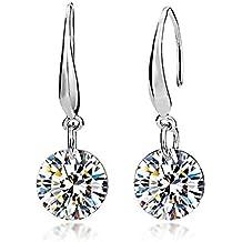 Pendientes de plata de ley y elementos de cristal Swarovski, con diseño en forma de lágrima, para mujer