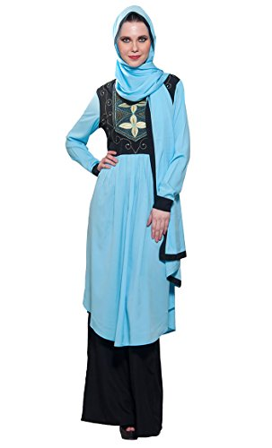 East Essence - Robe - Manches Longues - Femme Multicolore - Light Blue & Black