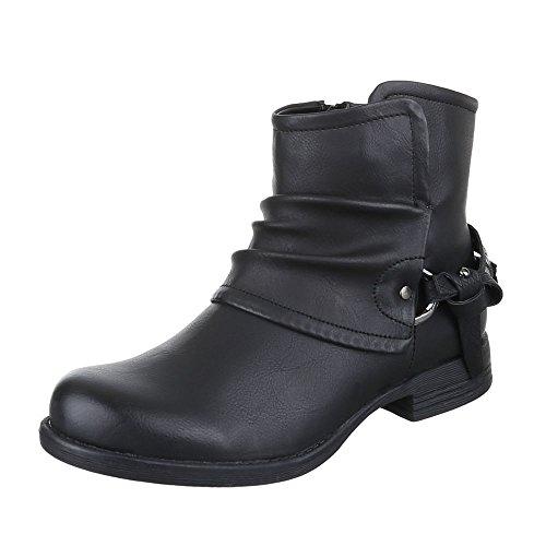 Ital-design Stivali / Stivali Da Motociclista Scarpe Da Donna Stivali Da Motociclista Con Tacco Moderno Con Cerniera E Stivaletti Neri