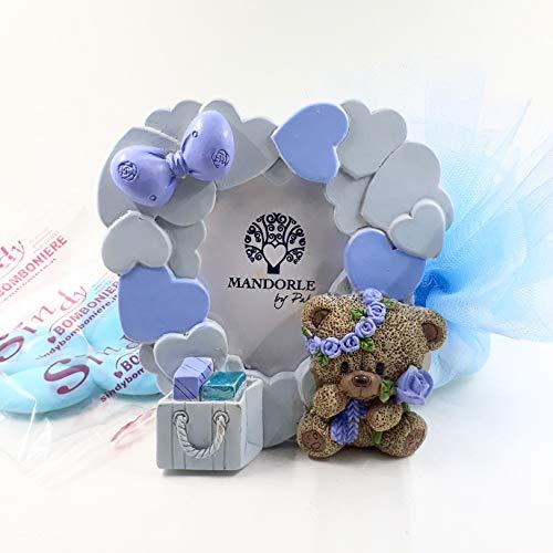 Sindy bomboniere bomboniera portafoto cornice cuori orsetto con fiore bimbo battesimo nascita