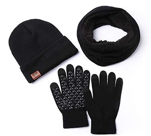 Mebest Wintermütze, Mütze mit Loop Schal Handschuh-Sets, Touchscreen Handschuhe Beanie Warme Mütze Strickmütze Winterschal mit Fleecefutter für Damen und Herren (Schwarz)