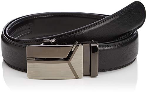 er-Gürtel mit Automatikschnalle - kürzbar, 3,5cm breit, mit Ratschenverschluss, schwarz, aus Rindsleder (140cm, Delta) ()