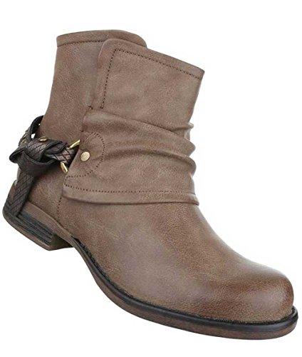 Damen Stiefeletten Schuhe Biker Boots Used Optik Schwarz Hellbraun
