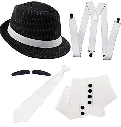 Foxxeo 20er Jahre Gangster Kostüm Set für Herren - Hosenträger Krawatte Hut Gamaschen Bart - für Fasching Karneval Motto-Party