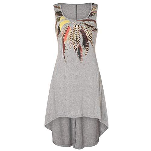 CUTUDE Damen Kleider Röcke Kurzarm Sommerkleider Frauen Freizeit Pfau Feder Druck Plus Größen Runder Ansatz Behälter-Kleid (Grau, ()