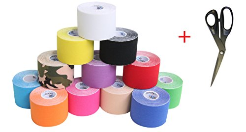 6er SET KINESIOLOGIE TAPE 5 cm x 5 m + Taping SCHERE FREIE FARBWAHL, Akutape, Tapen, Tapes, Kinesiology...