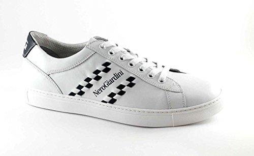 BLACK JARDINS lacets 4930 cuir homme blanc sportif espadrille Bianco
