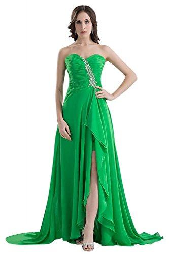 GEORGE BRIDE Charming Perlen Frontsplit aufgeteilt Abendkleid Grün