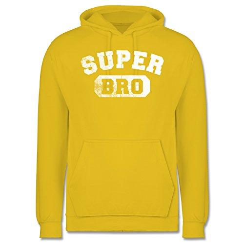 Bruder & Onkel - Super Bro - Vintage-&Collegestil - Herren Hoodie Gelb