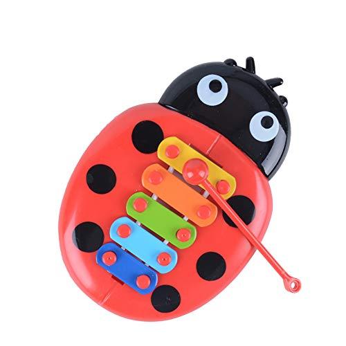 Homiki Baby-Instrument Spielzeug 5-Ton-Xylophon mit Mallet Handglocken Piano Toy Marienkäfer Knocking auf dem Klavier 1Pack