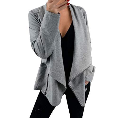 12shage Damen Cardigan Große Größe Warm Westen Kaschmir Jacke Casual Outwear Offene Herbstjacke Coat Asymmetrisch Oversize Winterjacke Sweatjacke Trendy Winter Coats