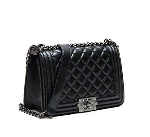 S Lady Design Fashion Frauen Karriere OL Schwarz Handtasche kariert Kette Tasche Umhaengetasche Mode-Strasse Damentaschen (gleichen Preis mit Upgrade-Qualitaet)