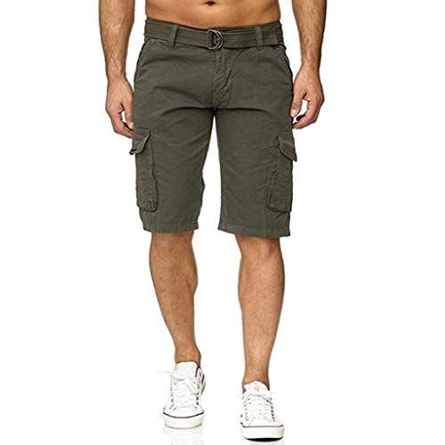 Auiyut Herren Cargo Shorts Baumwolle Bermuda Vintage Casual Kurz Hose Sommer Cargoshort Cargohose mit Gürtel Sommer Mode Shorts Lounge Lässige Shorts
