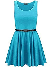 New Womens Belted Skater Dress Sleeveless Ladies Tailored Short Cute Party Chic