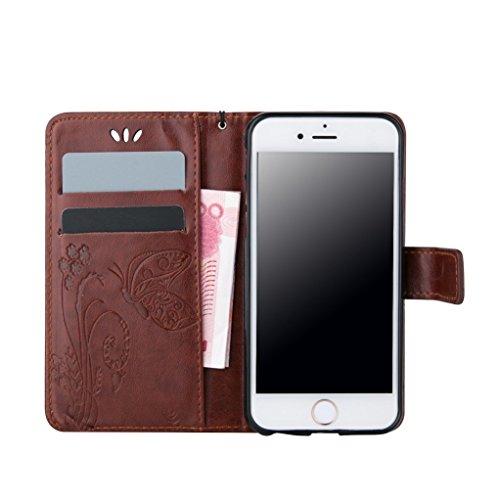 Trumpshop Smartphone Case Coque Housse Etui de Protection pour Apple iPhone 5C + Rouge + Ultra Mince Smartcoque Portefeuille PU Cuir Avec Fonction Support Anti-Choc Anti-Rayures + 3 Cadeaux Marron
