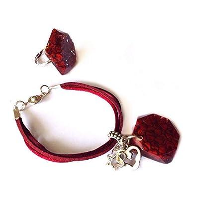 Parure 2 pièces: bracelet & bague - bijoux mexicains