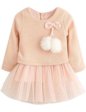 OverDose Kleinkind Baby Kind Mädchen Langarm Gestrickte Bogen Neugeborenen Tutu Prinzessin Kleid 0-24 Monate