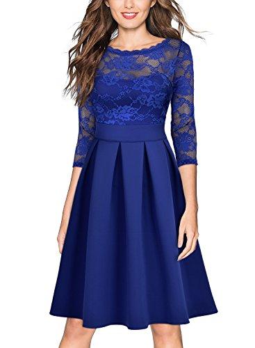 Miusol Cocktailkleid Spitzen 3/4 Arm Vintage Kleid Brautjungfer 50er Jahr Abendkleid Hellblau - 2