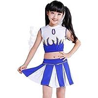 SMACO Trajes de Rendimiento de porristas para niños Aerobic para niños Uniformes de Baile Trajes de Rendimiento Deportivo para Estudiantes,Blue,160CM