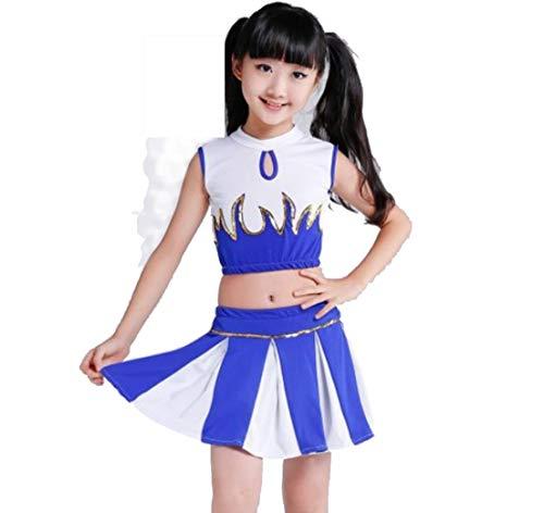 Kinder Kostüm Aerobic - SMACO Cheerleader-Kostüme für Kinder Kinder-Aerobic-Tanzuniformen Studentensport-Kostüme,Blue,160CM