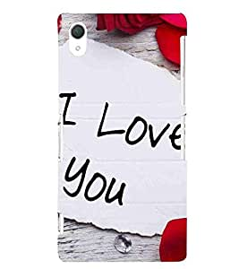 For Sony Xperia Z2 i love you ( i love you, good quotes, white paper ) Printed Designer Back Case Cover By TAKKLOO