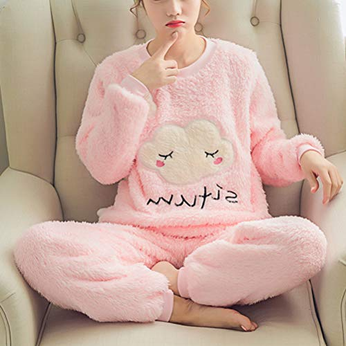 LUOEM Pijama Mujer Invierno 2Piezas con Manga Larga Arcoíris de Regalo Come Mostrato M