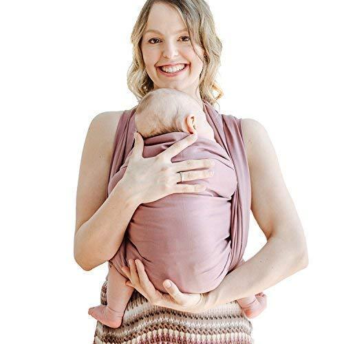Shabany® Babytragetuch - 100% Bio Baumwolle - Babybauchtrage für Neugeborene Kleinkinder bis 15 Kg - Gewebt - inkl. Baby Wrap Carrier Anleitung - violett (plays)