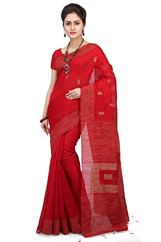 Wooden Tant Silk Ghicha Saree in Red