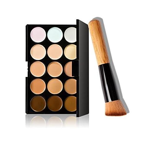 MRULIC 15 Farben Make-up Concealer Kontur Palette + Make-up Pinsel +Lidschatten (B)