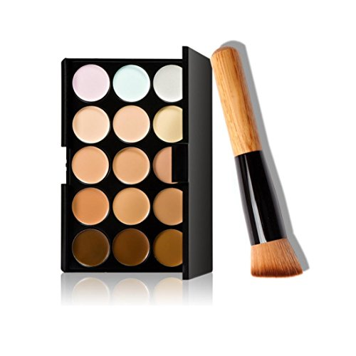 Hat 3d-puff (MRULIC 15 Farben Make-up Concealer Kontur Palette + Make-up Pinsel +Lidschatten (B))