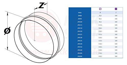 Rohrverbinder /Ø 100 mm L/üftungsrohr aus verzinktem Stahlblech Rundrohr Rundkanal Abluft-Rohr Abluftkanal Dunstabzug Kanal Rundrohrsystem Flexrohrverbinder Verbinder Nippel Wickelfalzrohr Alu-Flex-Rohr ZM100